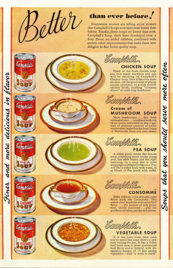 1946 magazine print ad for 5 different kinds of Campbell's S