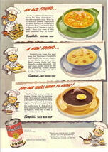 1946 Campbell Vegetable Beef Noodle Black Bean Soup print ad - $10.00