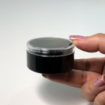5 Cosmetic Containers  Empty Black Plastic Jars 30 Gram Ml  Clear Lids #... - $17.95