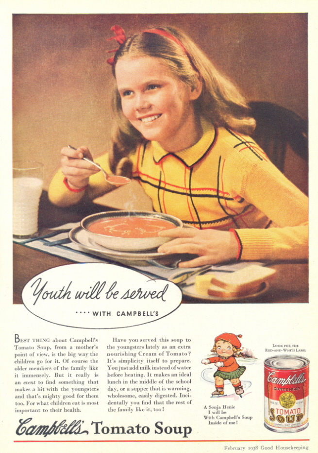 1938 Campbell Tomato Soup young girl drinking soup print ad
