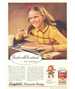 1938 Campbell Tomato Soup young girl drinking soup print ad - $10.00