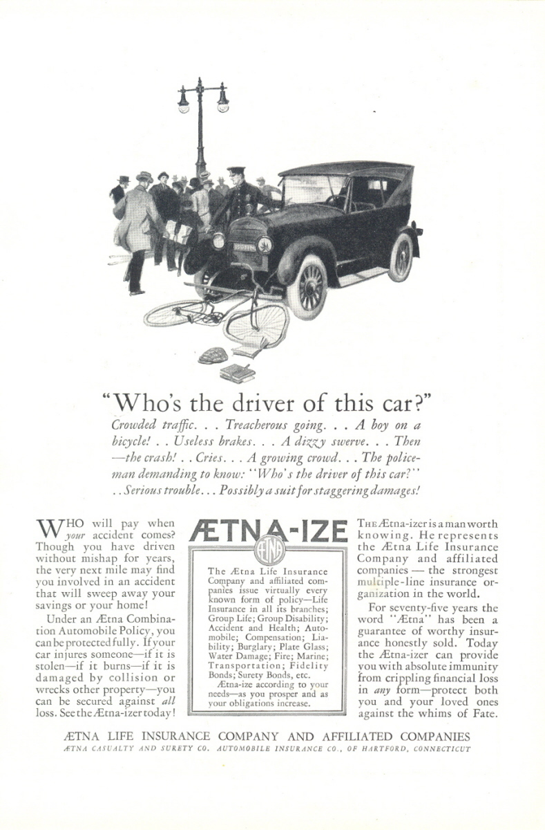 1924 Aetna Life Insurance car hit bicycle accident print ad