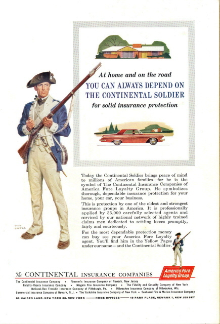 1962 Continental Insurance Co. Soldier Swiss Peabody print a