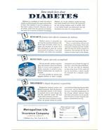 1950 Metropolitan Life Insurance diabetes fatcs print ad - $10.00