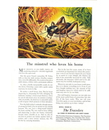 1946 Travelers Insurance minstrel home crickets print ad - $10.00