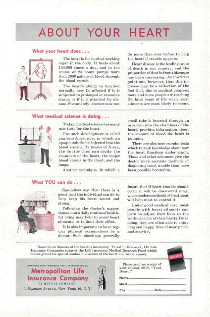 1950 Metropolitan Life Insurance Human Heart facts print ad