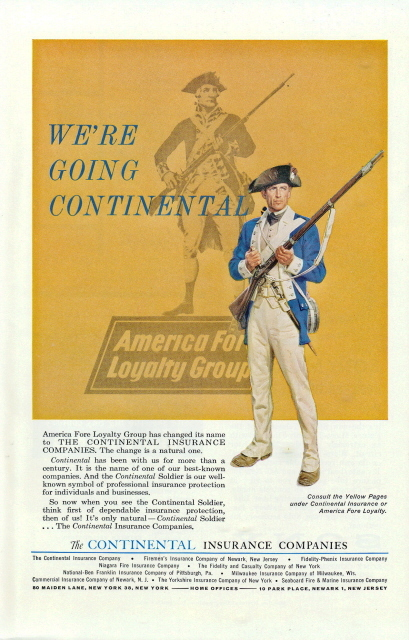 1963 Continental Insurance America Fore Change Name print ad