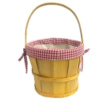 New Vintiquewise Woodchip Bushel Basket with Red Fabric Lining, QI003063 - $12.99