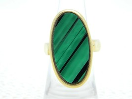 VTG CROWN TRIFARI Gold Tone Green Abalone Shell Ring Size 5.5 - $74.25