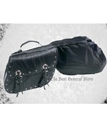New Black Leather Motorcycle Saddle Bag Set Saddlebags - $54.89