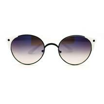 Women's Oval Round Metal Wire Rim Sunglasses with Unique Plastic Horn Rim - $7.95