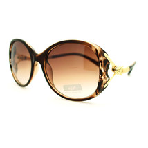 Engraved Snake Wavy Temple Oversized Round Sunglasses - Brown - $9.85