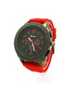 Geneva Mens Luxury Faux Chronograph Analog Quartz Wrist Watch Red Gunmetal - $14.80