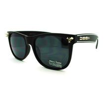 Black Super Trendy Metal Stud Punk Retro Fashion Sunglasses - White Stripe - $9.85