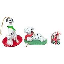 Lot of 3 Disney Grolier 101 Dalmatians Christmas Ornaments 1 Porcelain - $29.69