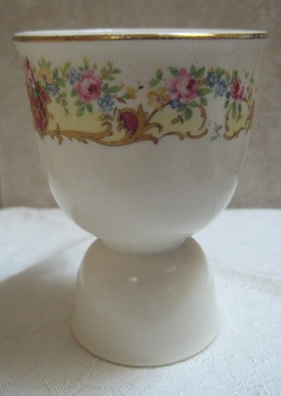 Vintage 1930's Double Egg Cup Floral Transferware