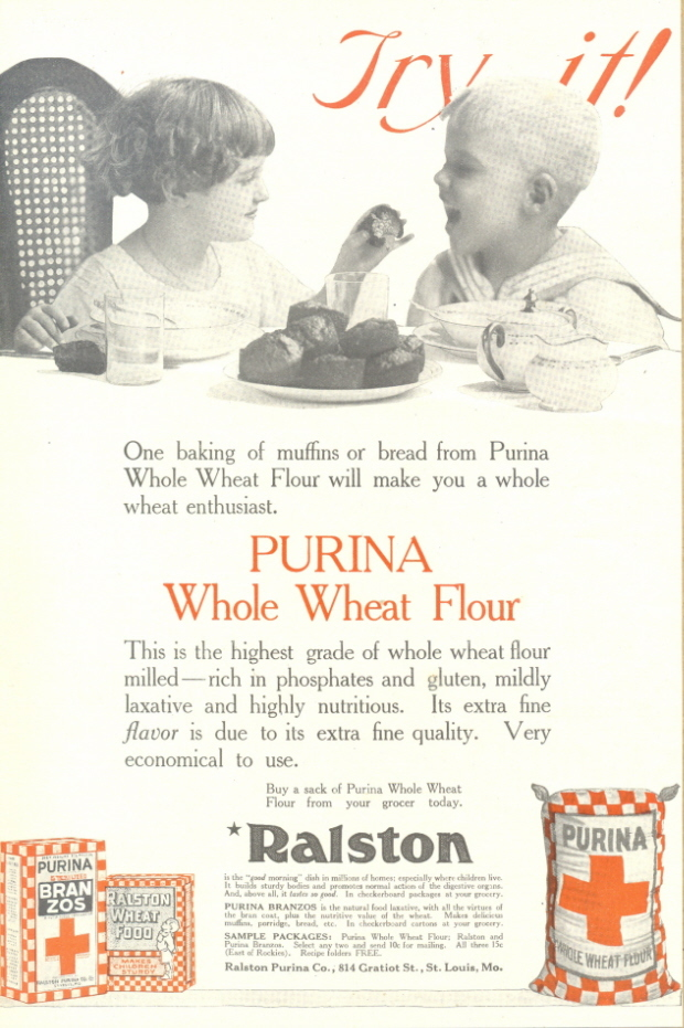 1937 Purina Whole Wheat Flour children eating print ad