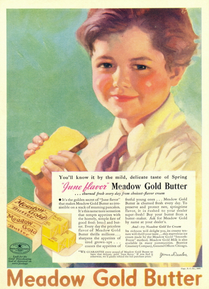 1937 June Flavor vintage Meadow Gold Butter print ad