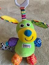 Lamaze Clip N Go Green Plush DOG Crinkle Ears Orange Red Paws Bone Jingl... - $11.18