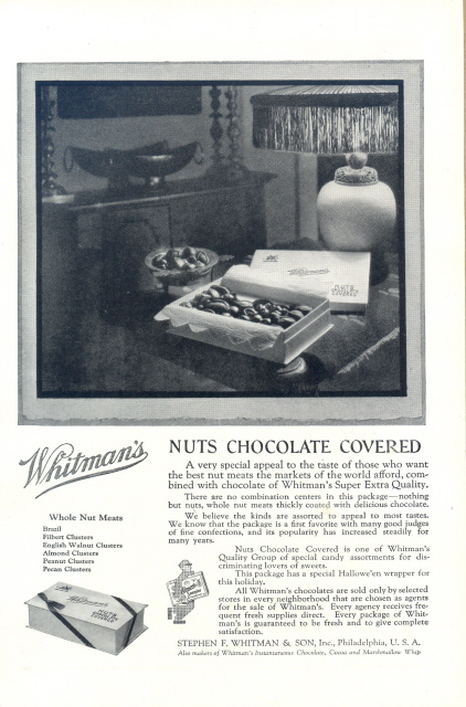1931 Whitman's Nut Chocolate Covered special candy print ad
