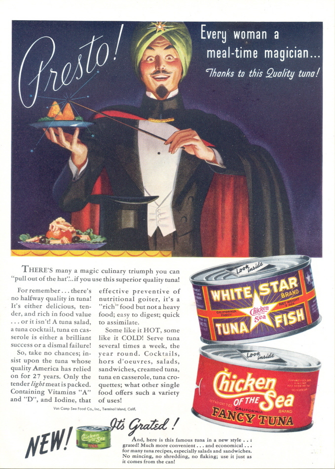 1947 Chicken of the Sea Can Tuna Fish sikh magician print ad