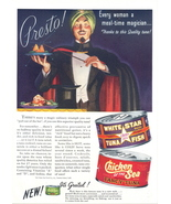 1947 Chicken of the Sea Can Tuna Fish sikh magician print ad - $10.00