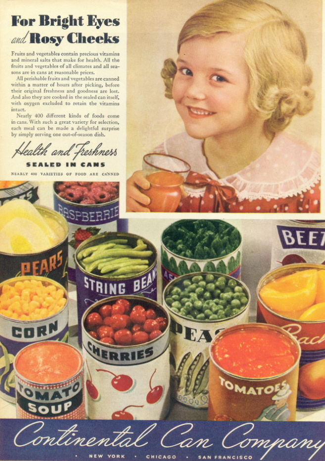 1941 Continental Can Company Canned Food print ad