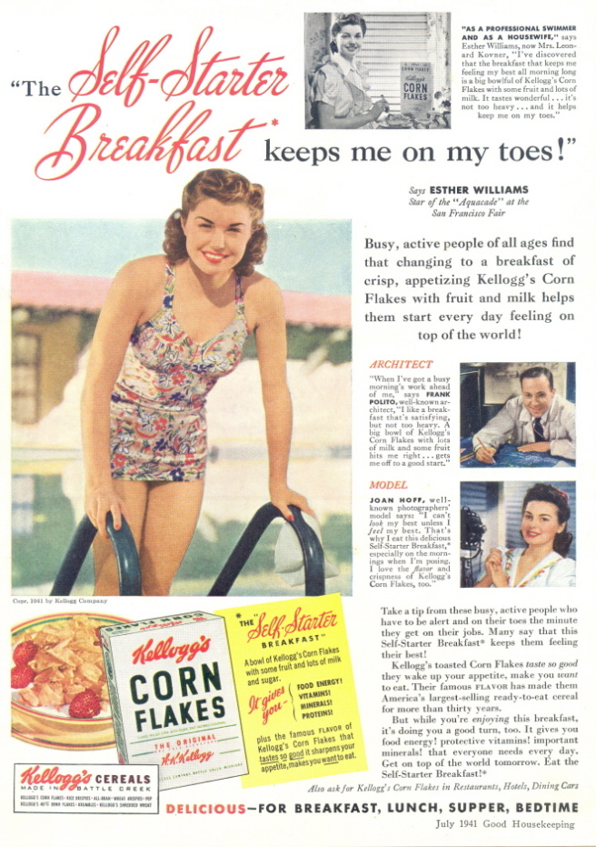 1941 Esther Williams Kellogg's Corn Flakes print ad
