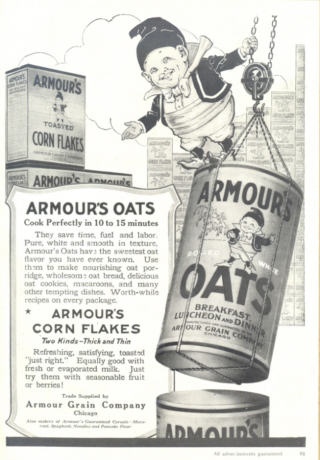 1946 Armour's Oats & Corn Flakes Cereal print ad