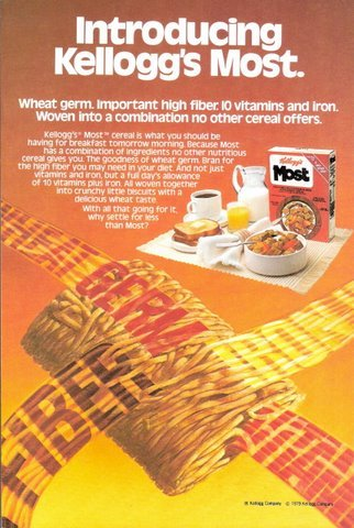 1979 Kellogg's Most Breakfast Cereal Wheat Germ print ad