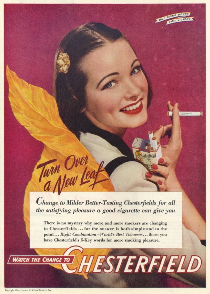 1946 Chesterfield Cigarettes Female Smoker print ad
