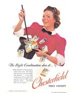 1939 Chesterfield Cigarette woman magician hat print ad - $10.00