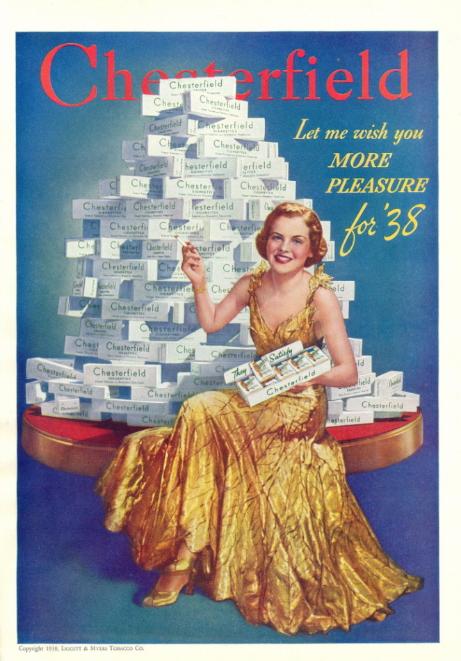 1946 pyramid made of Chesterfield Cigarettes print ad