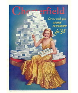 1946 pyramid made of Chesterfield Cigarettes print ad - $10.00