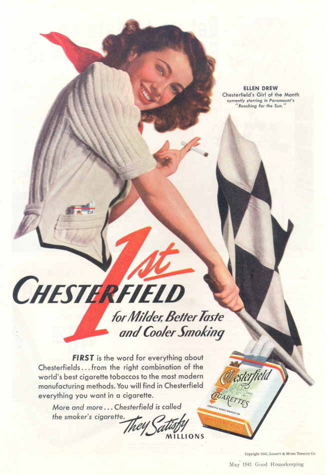 1941 Ellen Drew Chesterfield cigarette Checkered Flag print
