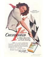 1941 Ellen Drew Chesterfield cigarette Checkered Flag print  - $10.00
