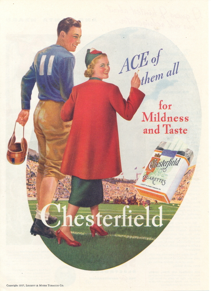 1937 Chesterfield Cigarettes Sports Player print ad