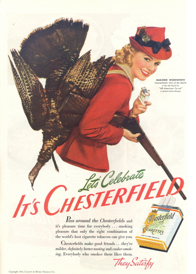 1941 Marjorie Woodworth Chesterfield cigarette print ad