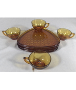Indiana Daisy Button Amber Gold 4 Place Snack Tray Set - $29.00