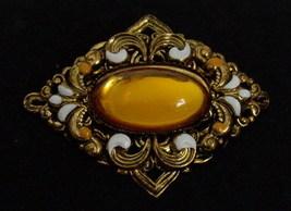 Faux Amber Enamel Victorian Style Brooch Pin - $5.95