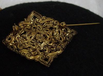 Faux Amber Enamel Victorian Style Brooch Pin