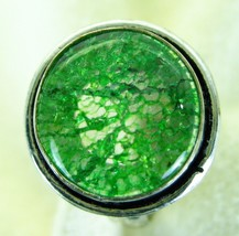 Crackle Quartz Round Grass Green Sterling Silver 925 Ring Size 6-1/2 sol... - $83.00