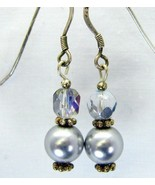 Grey Pearls with Swarovski Crystals Sterling Si... - $44.13