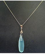 Faceted Aqua Blue Teardrop Chalcedony Solid 14k... - $237.12