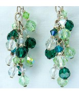 Faceted Swarovski Crystal Green Spring and Sterling Silver Dangle Earrings 925 - $77.00