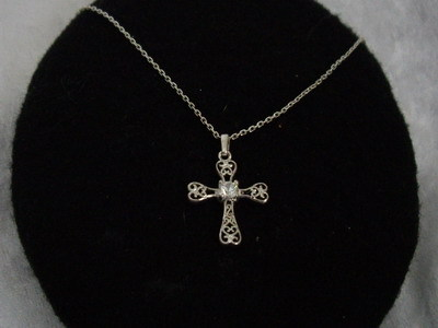 Sterling Silver Cross Cubic Zircona Necklace