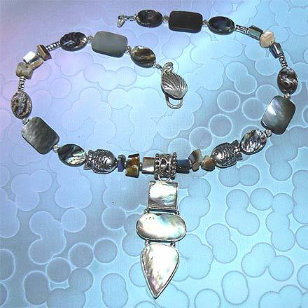 Sterling Silver Abalone and Mother of Pearl Necklace