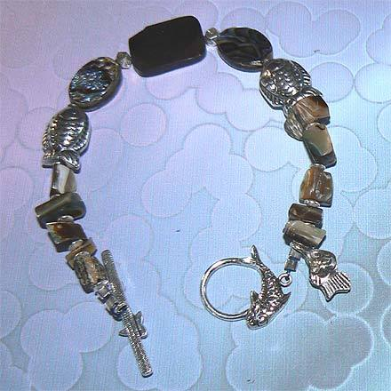 Sterling Silver Abalone and Mother of Pearl Bracelet
