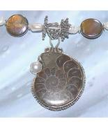 FW Pearl, Hawk's Eye, Shell, Ammonite Fossil Necklace - $100.00