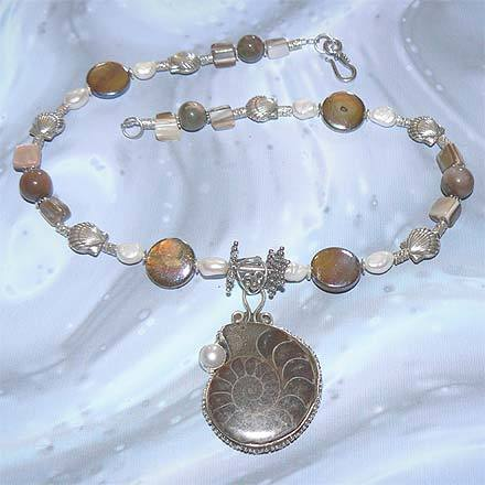 FW Pearl, Hawk's Eye, Shell, Ammonite Fossil Necklace
